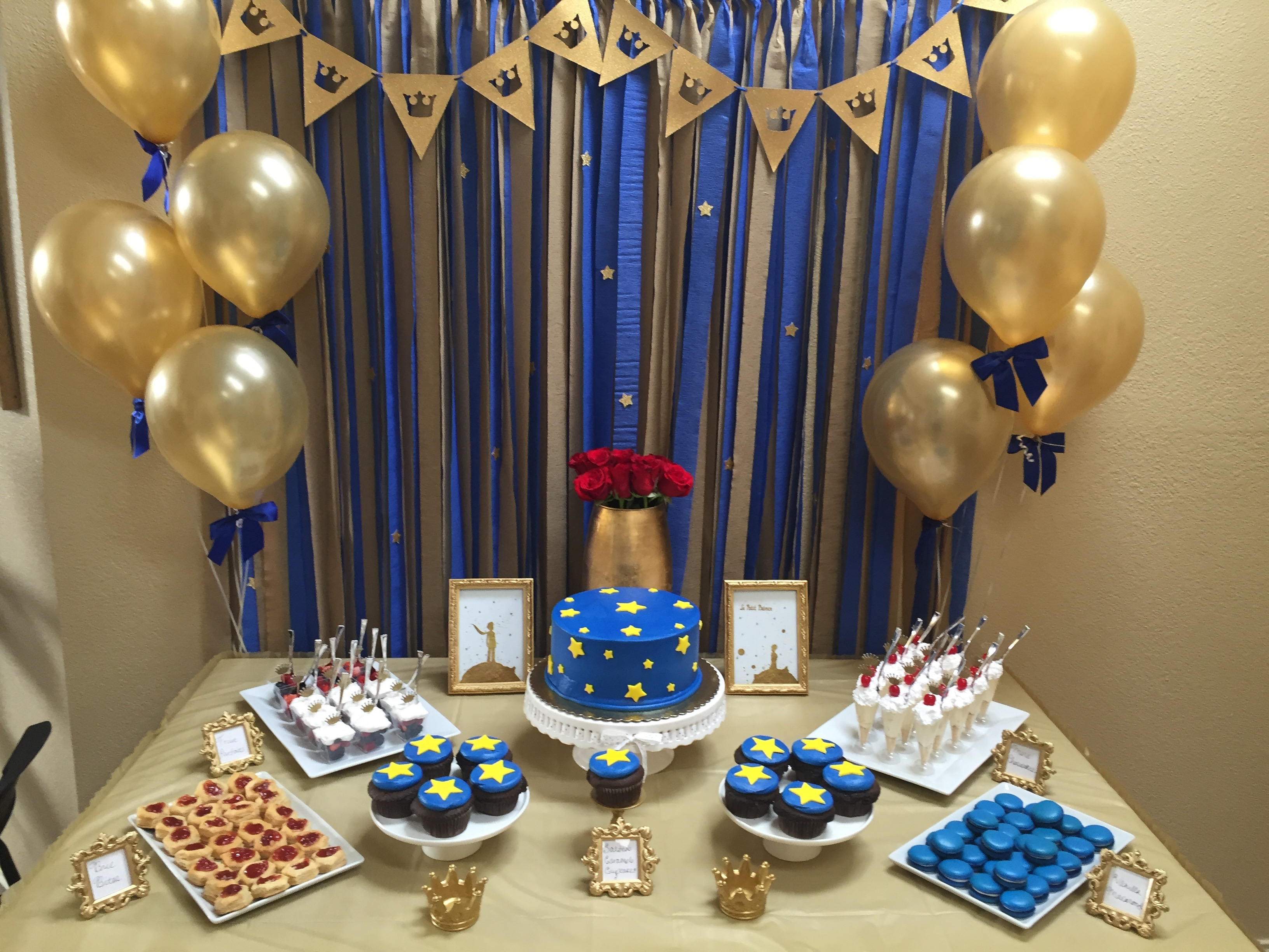 Le petit prince gold navy baby shower sarah combs events Decoration le petit prince